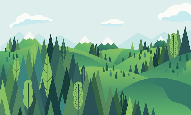Hügellandschaft mit berg- und waldlandschaft Premium Vektoren