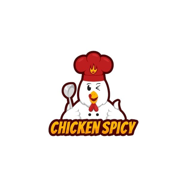 Hühnerwürziges logomaskottchen mit dem lustigen hühnercharakter, der schöpflöffel hält und trägt chefhut in der karikaturart Premium Vektoren