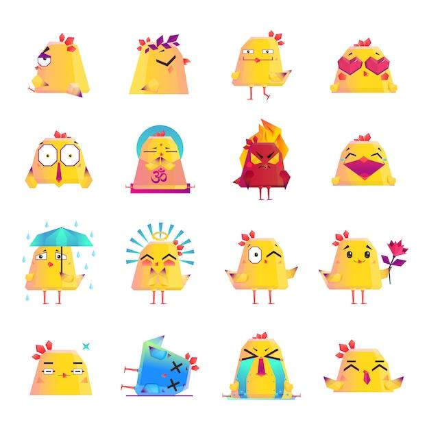 Hühnerzeichentrickfilm-figur-ikonen-großer satz Kostenlosen Vektoren