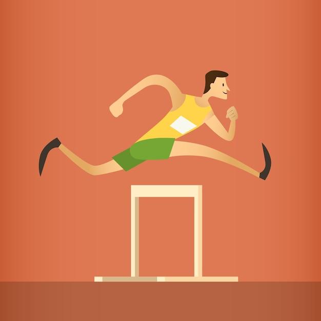 Hürdenrennen laufen athlet sport wettbewerb Premium Vektoren
