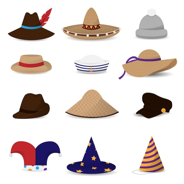 Hüte kappen flache farbige symbole Premium Vektoren
