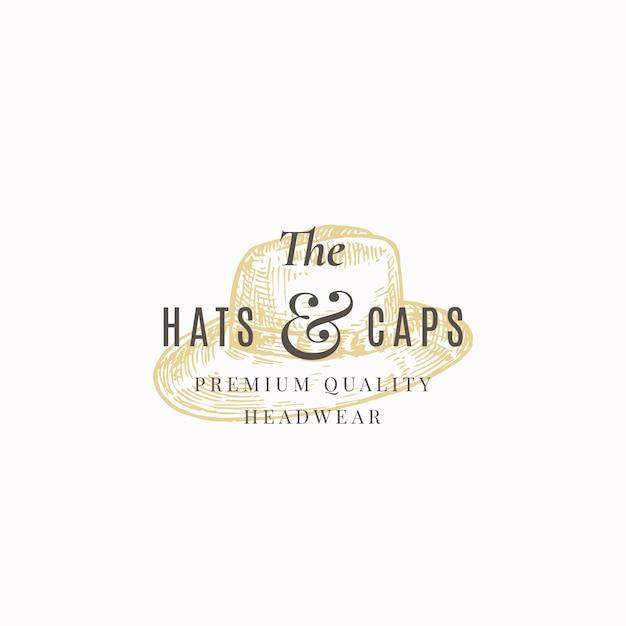 Hüte und kappen speichern abstrakte zeichen-, symbol- oder logo-vorlage. Kostenlosen Vektoren
