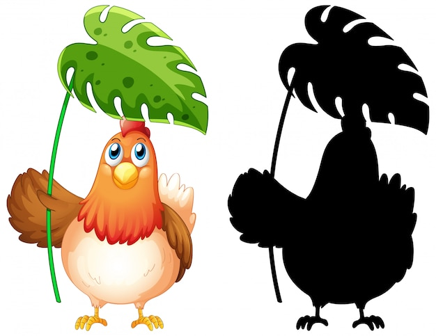 Huhn, das blatt mit seiner silhouette hält Kostenlosen Vektoren