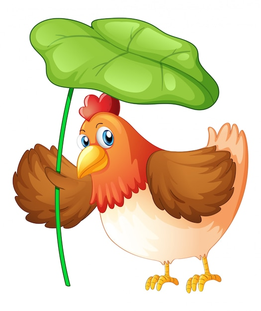 Huhn, das grünes blatt auf weißem hintergrund hält Kostenlosen Vektoren