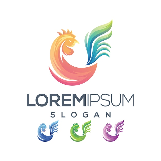 Huhn logo farbverlauf Premium Vektoren