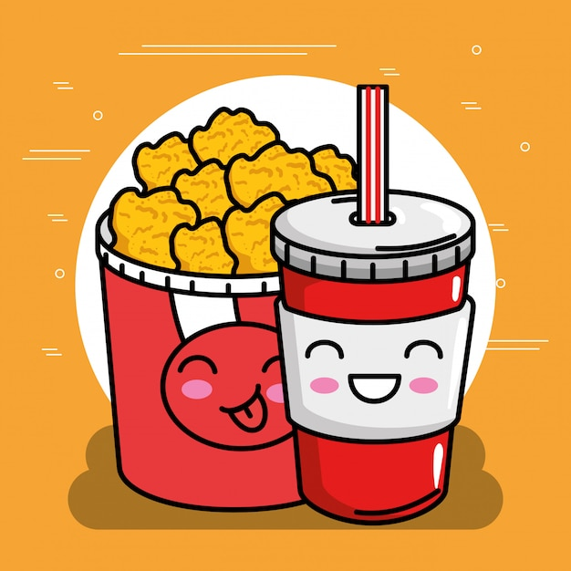 Huhn nuggets topf mit soda kawaii charakter Premium Vektoren