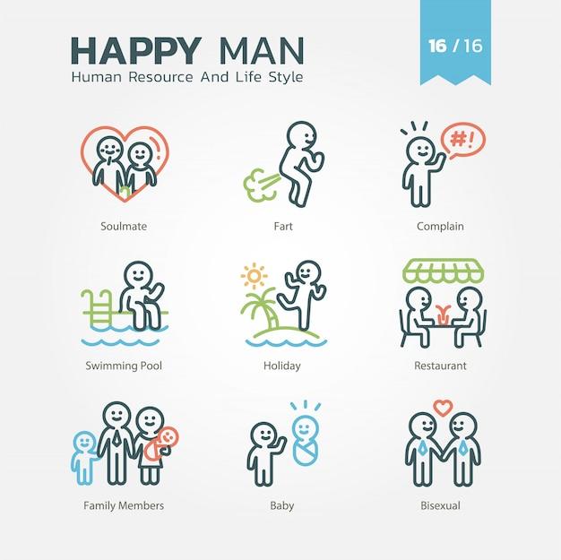 Human resource und lifestyle-icon-set Premium Vektoren