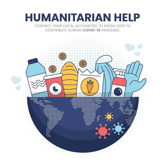 Humanitäre hilfe beim coronavirus Kostenlosen Vektoren