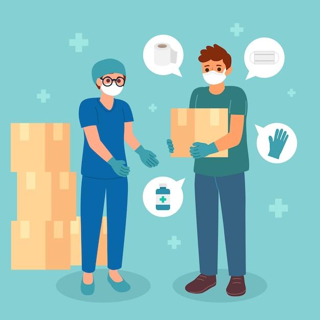 Humanitäre hilfe illustriert thema Kostenlosen Vektoren