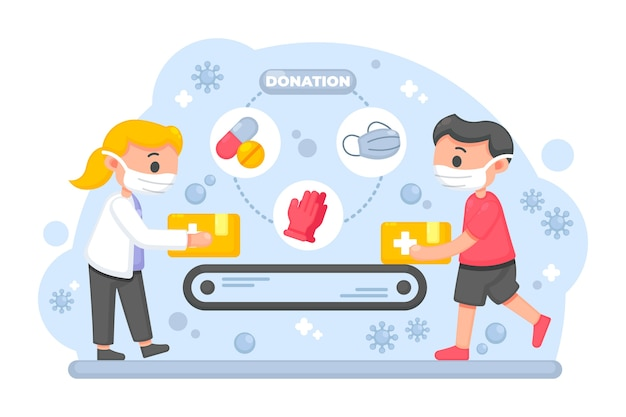 Humanitäre hilfe illustrierte design Kostenlosen Vektoren