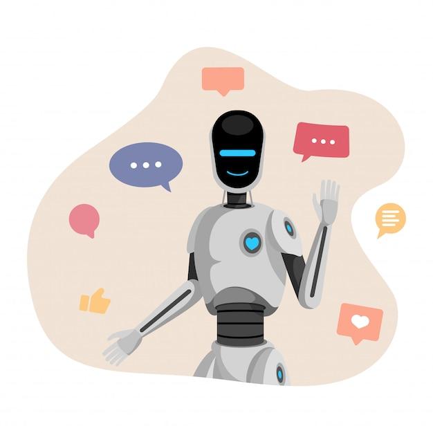 Humanoider roboter, chatbot Premium Vektoren