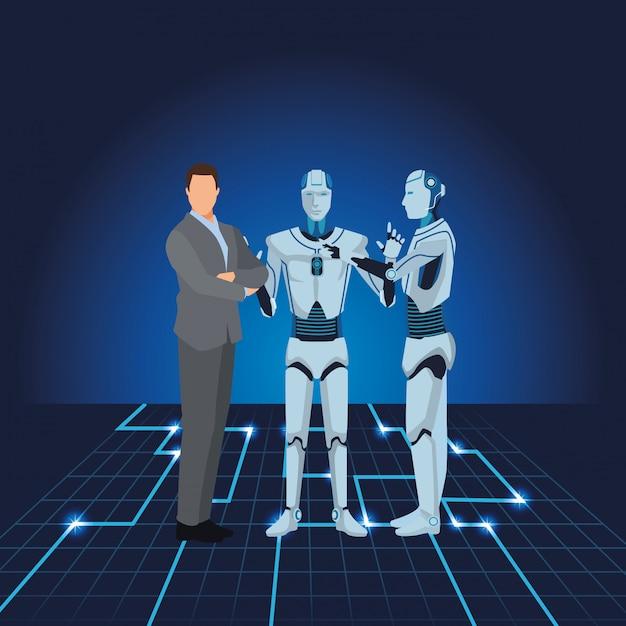 Humanoider roboter und geschäftsmann Premium Vektoren