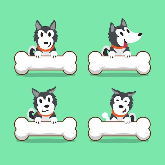 Hund des zeichentrickfilm-figur-sibirischen huskys mit den großen knochen Premium Vektoren