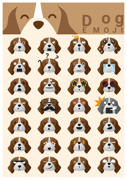 Hund emoji-symbole Premium Vektoren