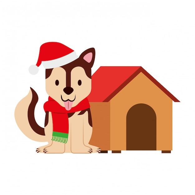 Hund frohe weihnachten karte Premium Vektoren