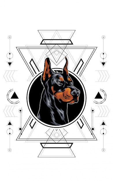Hund heilige geometrie Premium Vektoren
