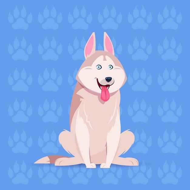 Hund husky happy cartoon sitting abdruck-hintergrund-nettes haustier Premium Vektoren
