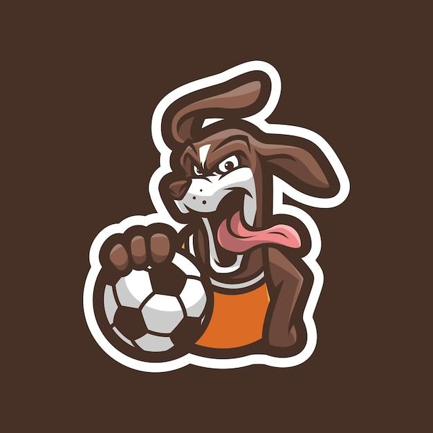 Hund mit ball maskottchen logo design Premium Vektoren