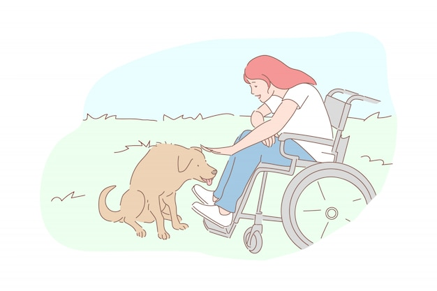 Hund mit behinderter mädchenillustration Premium Vektoren