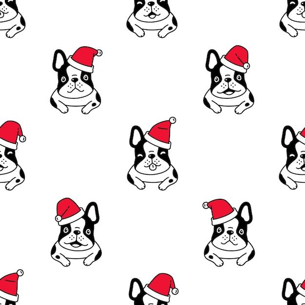 Hund nahtlose muster französisch bulldogge weihnachten santa claus hut Premium Vektoren