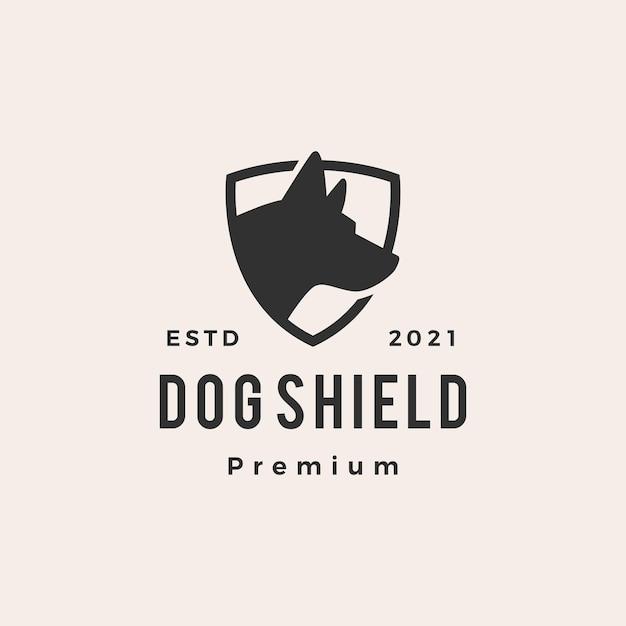 Hund schild hipster vintage logo Premium Vektoren