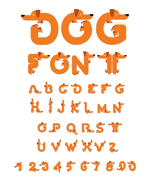 Hund schrift dackel-alphabet. beschriftung heimtier. abc-haustier Premium Vektoren