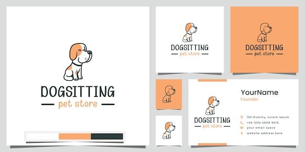 Hund sitzen tierhandlung logo design inspiration Premium Vektoren
