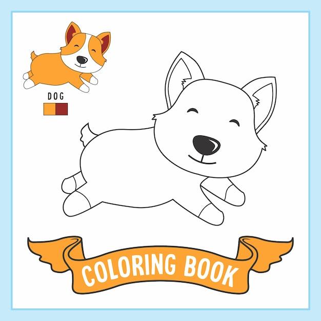 Hund Tiere Malvorlagen Buch Premium Vektor
