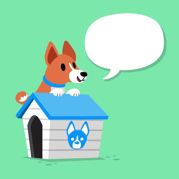 Hund und hundehütte der zeichentrickfilm-figur basenji mit spracheblase Premium Vektoren