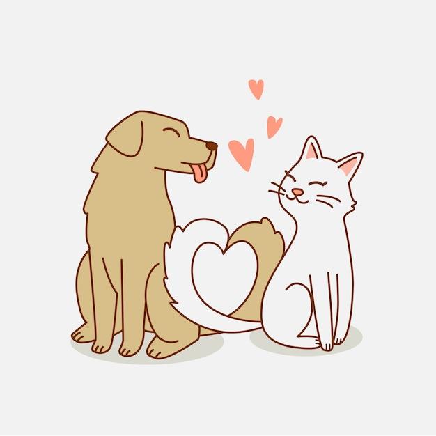 Hund und katze lieben sich illustration Premium Vektoren