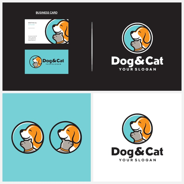 Hund und katze logo vorlage Premium Vektoren