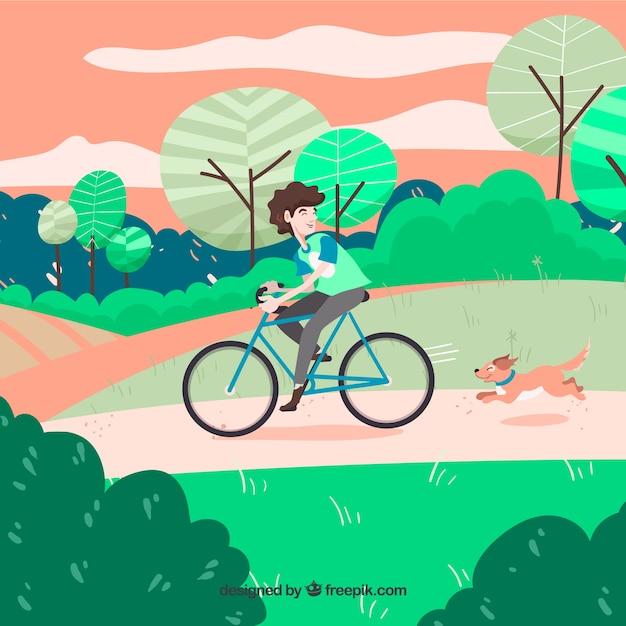 Hund und mann mit fahrrad im park Kostenlosen Vektoren
