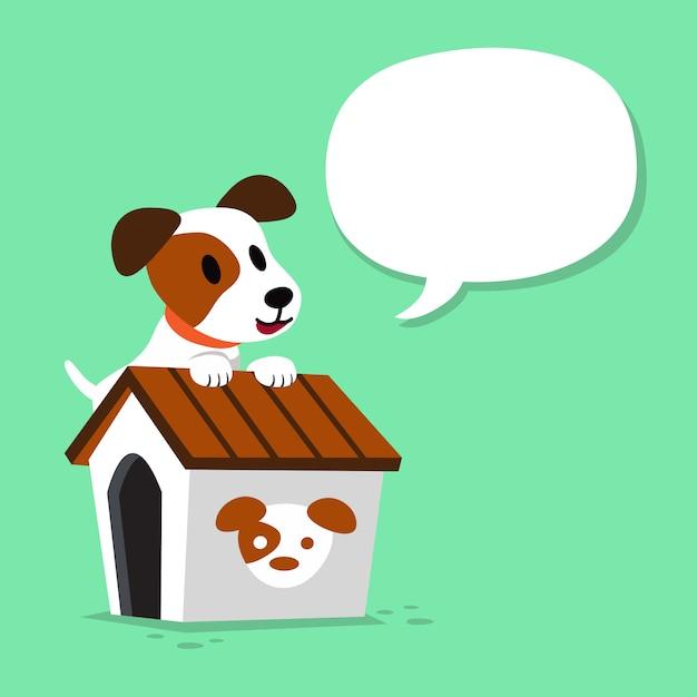 Hund und zwinger der zeichentrickfilm-figur jack russell terrier Premium Vektoren