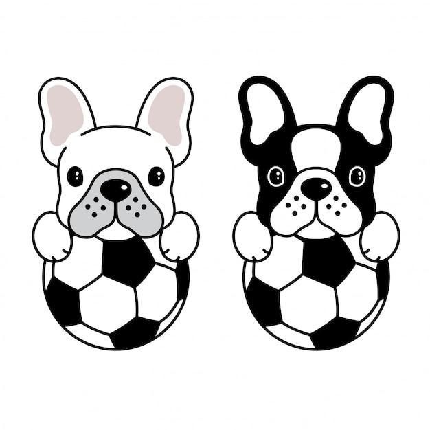 Hund vektor französische bulldogge fußball fußball ball welpen cartoon Premium Vektoren