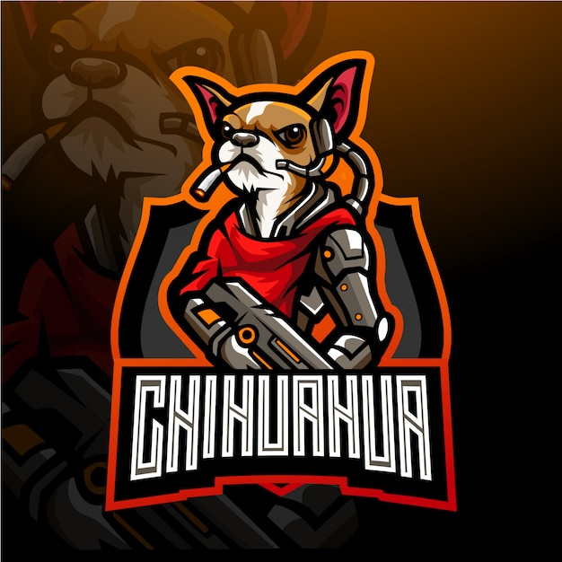 Hund von chihuahua esport logo maskottchen design. Premium Vektoren