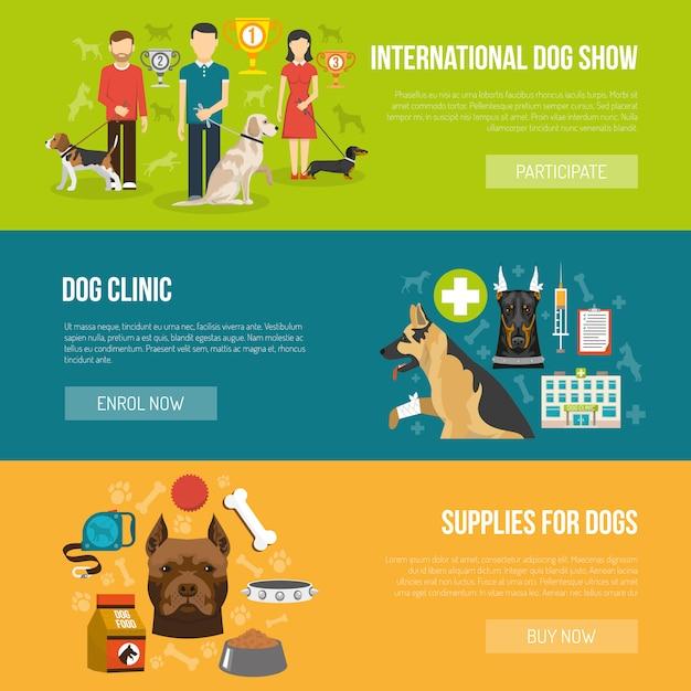 Hunde-banner-set Kostenlosen Vektoren