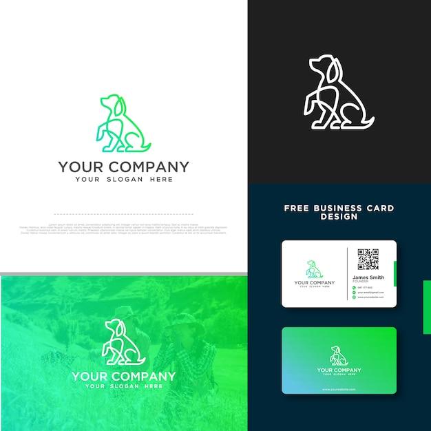 Hunde Logo Mit Gratis Visitenkarte Design Premium Vektor