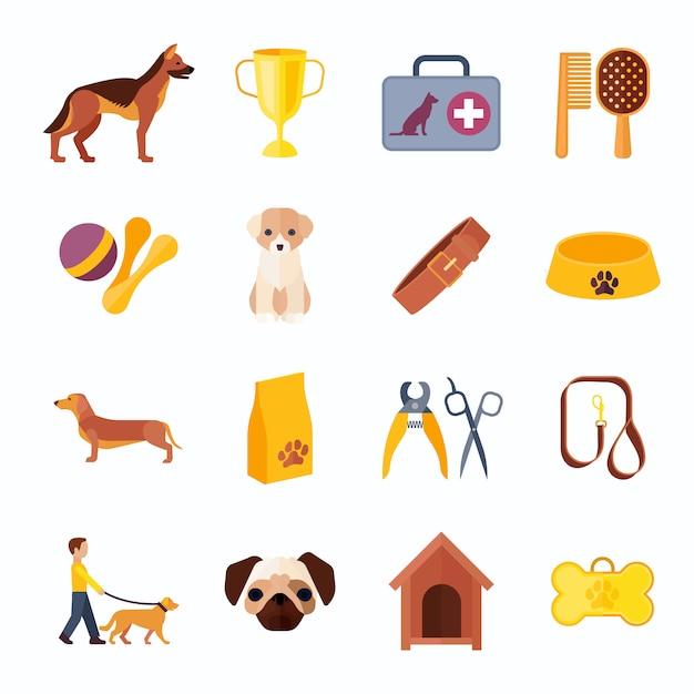 Hunde züchten flache ikonensammlung mit lokalisierter vektorillustration der veterinärausrüstung und des gewinnerspielzeugknochens zusammenfassung Kostenlosen Vektoren