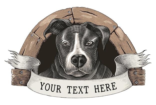 Hundefarm logo hand zeichnen vintage gravur stil clipart isoliert auf weiß Premium Vektoren