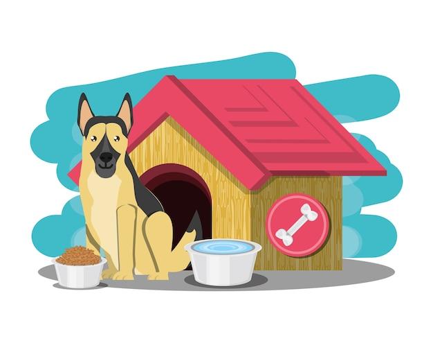 Hundehütte mit deutsch sheperd Premium Vektoren