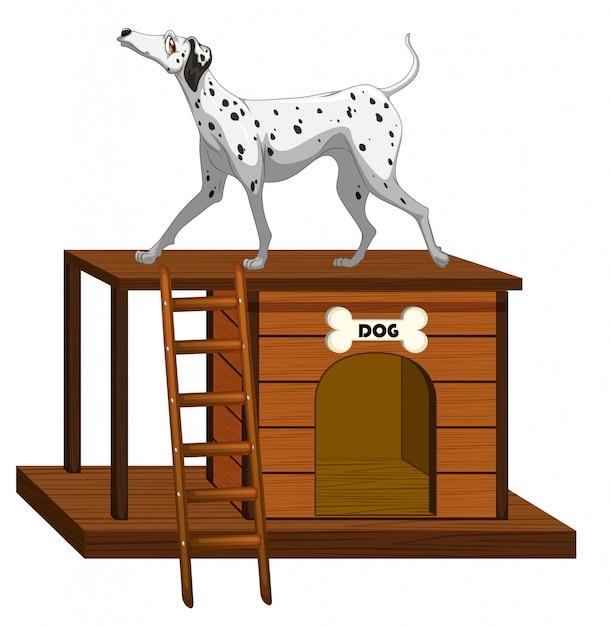 Hundehütte mit niedlichem hund stehend Kostenlosen Vektoren