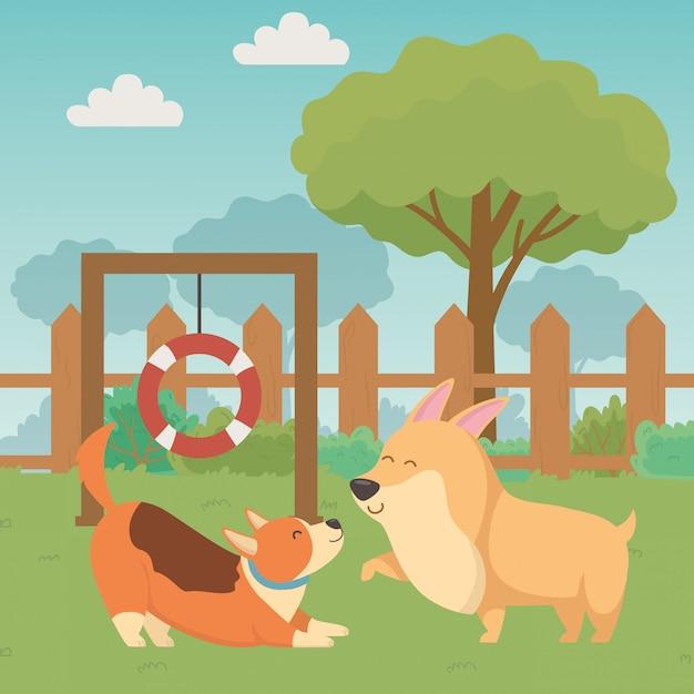 Hundekarikaturdesign-vektorillustrator Kostenlosen Vektoren