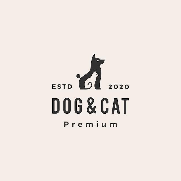 Hundekatze haustier hipster vintage logo symbol illustration Premium Vektoren