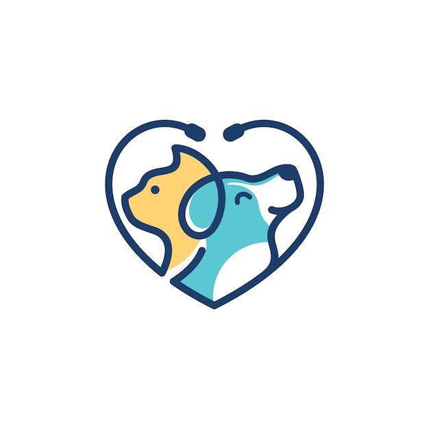 Hundekatze logo template veterinary Premium Vektoren