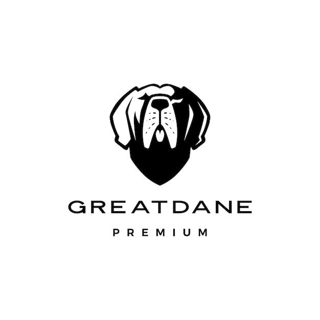 Hundelogo-ikonenillustration der deutschen dogge Premium Vektoren
