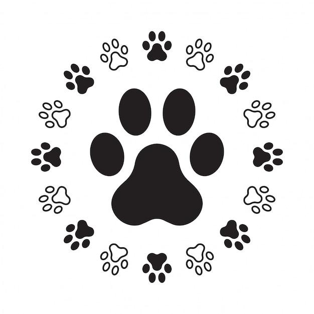 Hundepfotenabdruck Premium Vektoren