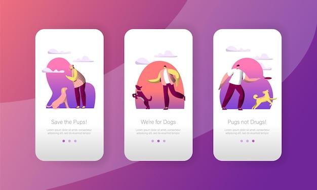 Hundespiel sprung mit frau besitzer outdoor mobile app seite onboard screen set. Premium Vektoren
