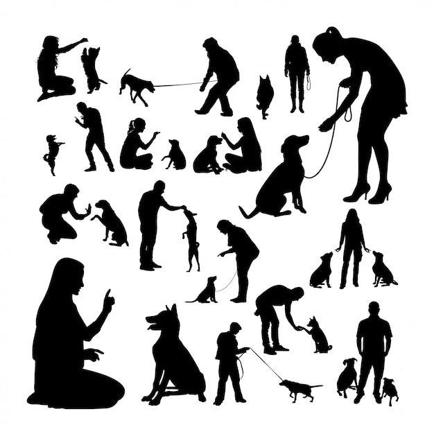 Hundetrainer-silhouetten. Premium Vektoren