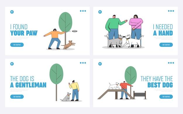 Hundetraining konzept. website landing page. Premium Vektoren