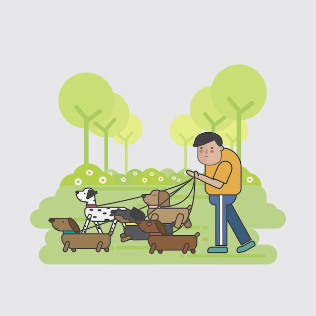 Hundewanderer, der ein paket hunde geht Kostenlosen Vektoren